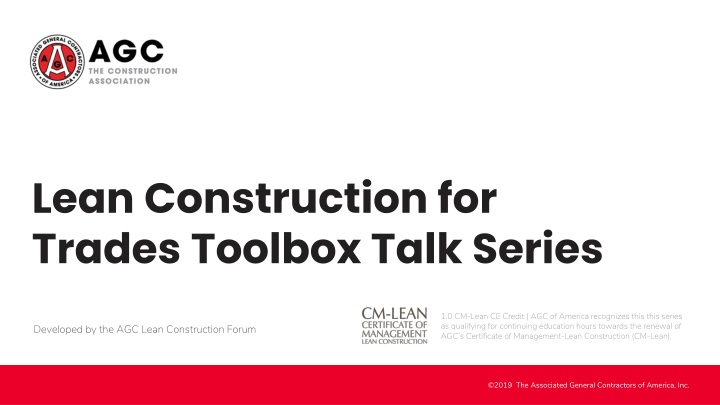 lean construction for trades toolbox talk series n.