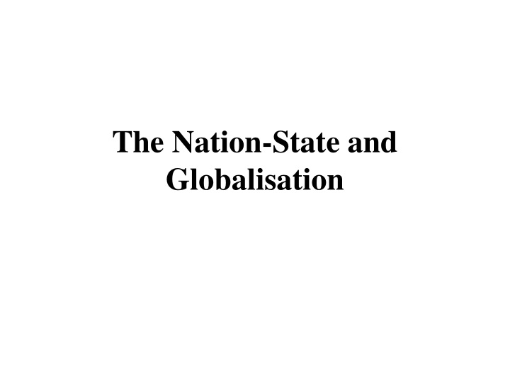 the nation state and globalisation n.