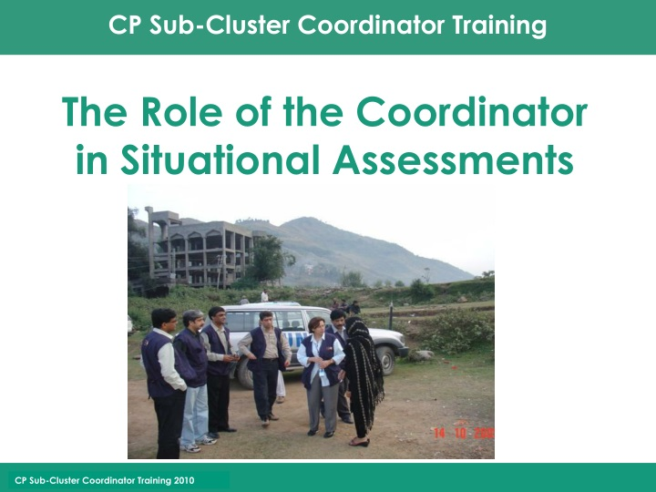 the role of the coordinator in situational assessments n.