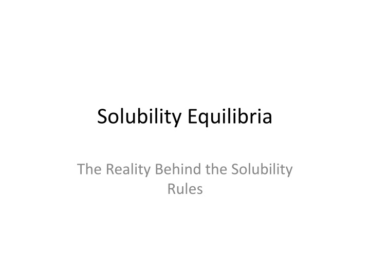 solubility equilibria n.