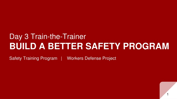 day 3 train the trainer build a better safety program n.