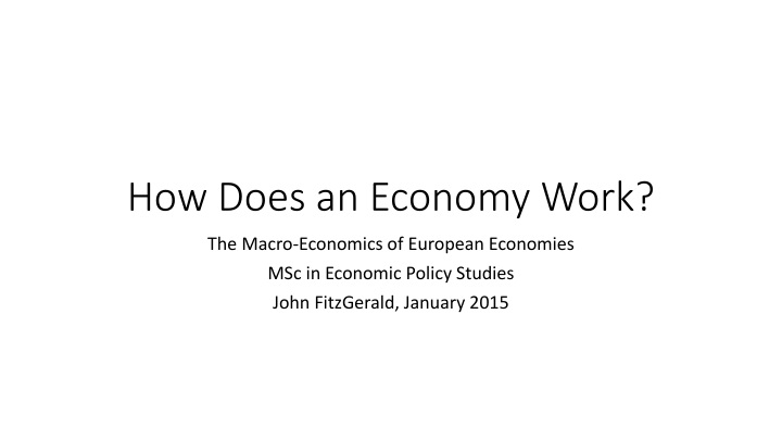 how does an economy work n.