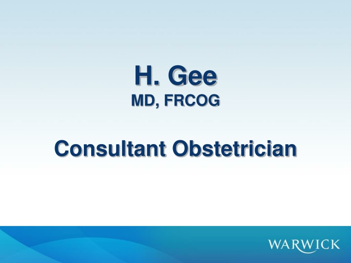 h gee md frcog consultant obstetrician n.