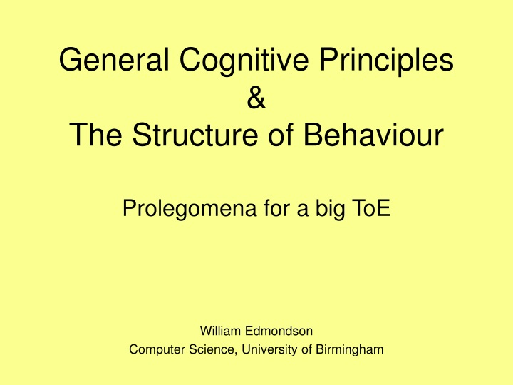 general cognitive principles the structure of behaviour n.