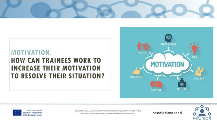 motivation how can trainees work to increase their motivation to resolve their situation n.
