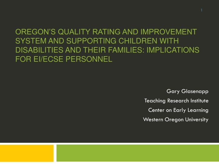 gary glasenapp teaching research institute center on early learning western oregon university n.