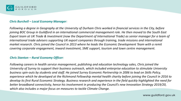 chris burchell local economy manager following n.