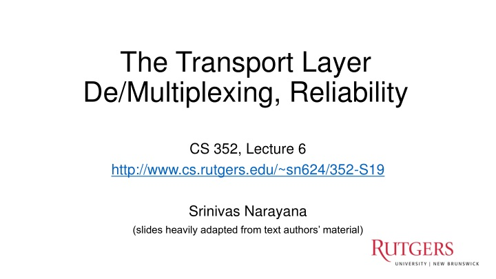 the transport layer de multiplexing reliability n.