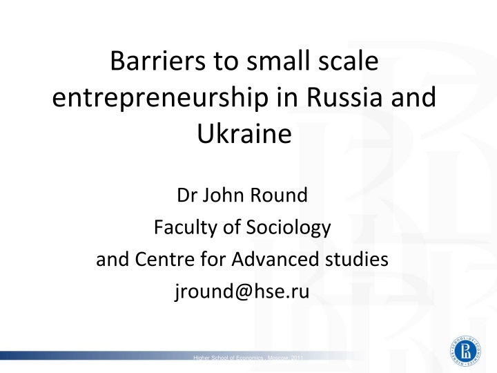 barriers to small scale entrepreneurship in russia and ukraine n.