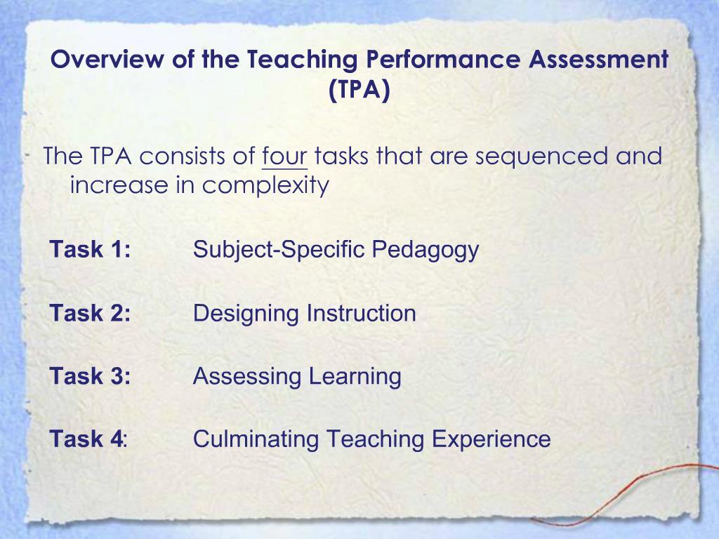 Ppt California Teaching Performance Assessment Ca Tpa Powerpoint Presentation Id 474257