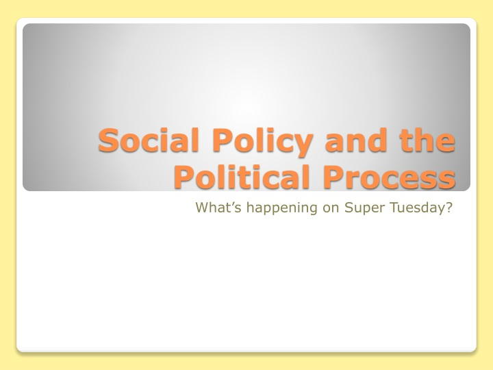 social policy and the political process n.