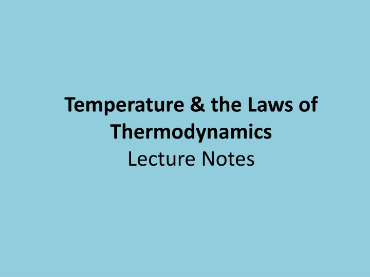 temperature the laws of thermodynamics lecture notes n.
