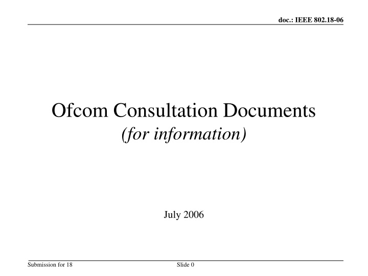 ofcom consultation documents for information n.