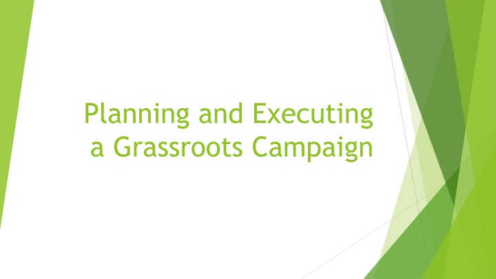 planning and executing a grassroots campaign n.