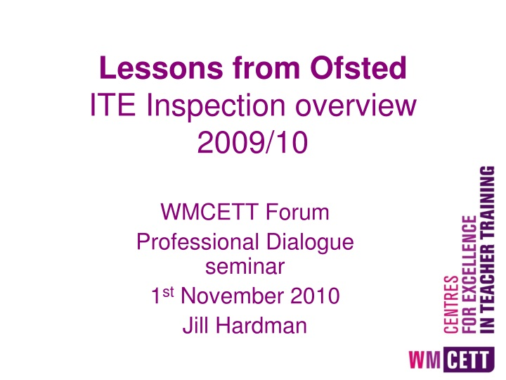 lessons from ofsted ite inspection overview 2009 10 n.