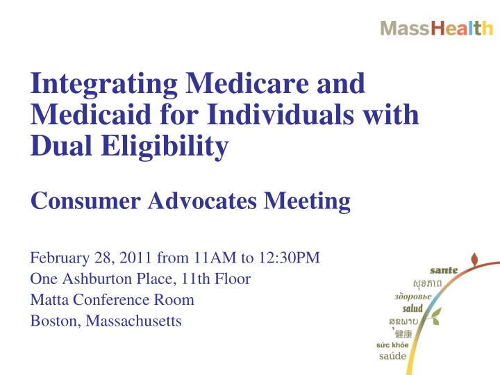 integrating medicare and medicaid for individuals with dual eligibility n.
