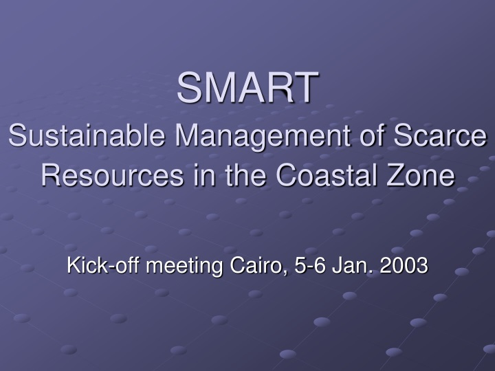 smart sustainable management of scarce resources in the coastal zone n.