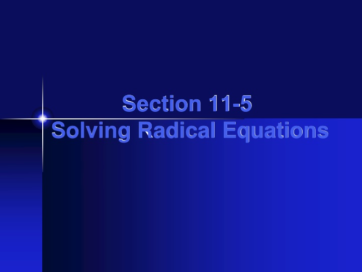 section 11 5 solving radical equations n.