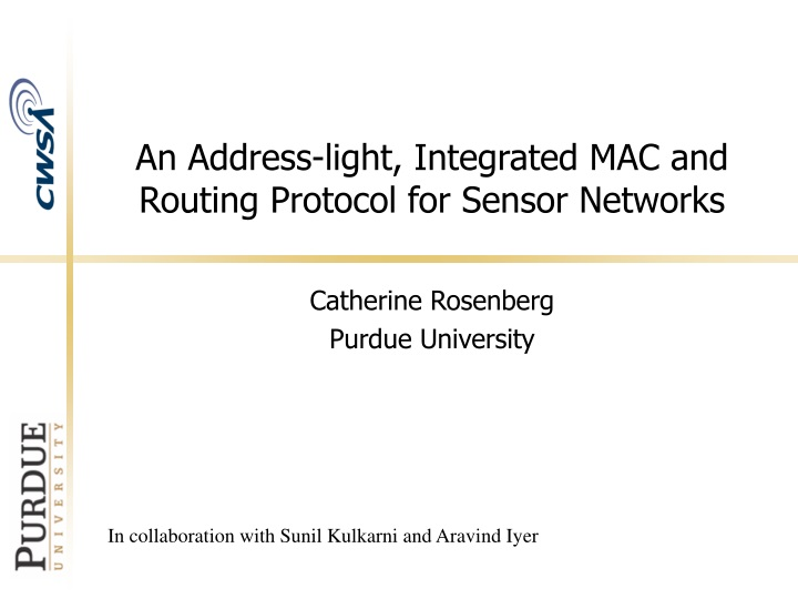 an address light integrated mac and routing protocol for sensor networks n.