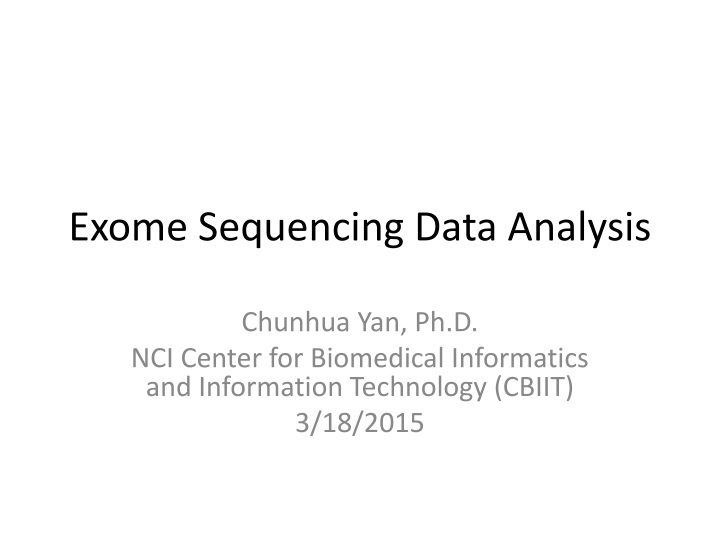 exome sequencing data analysis n.