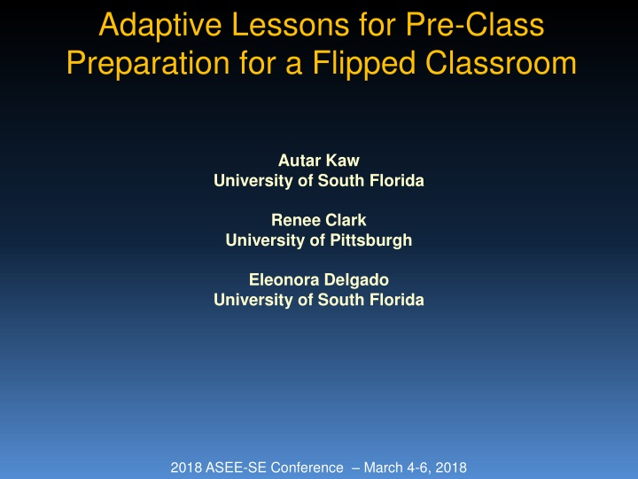 adaptive lessons for pre class preparation for a flipped classroom n.