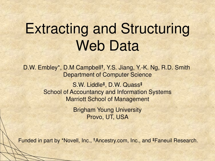 extracting and structuring web data n.