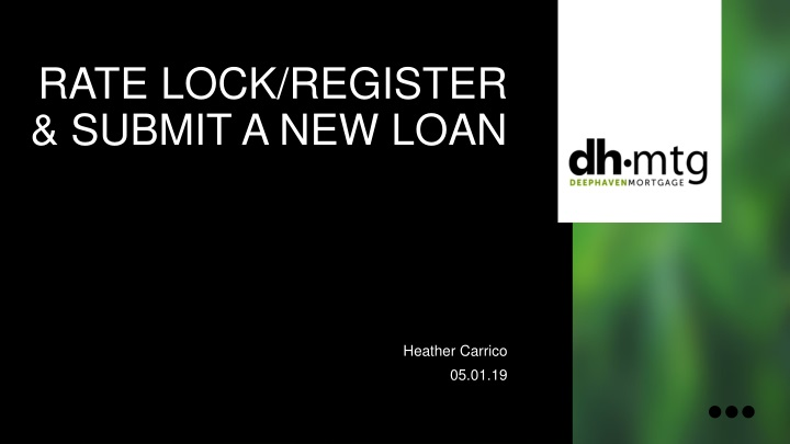 rate lock register submit a new loan n.