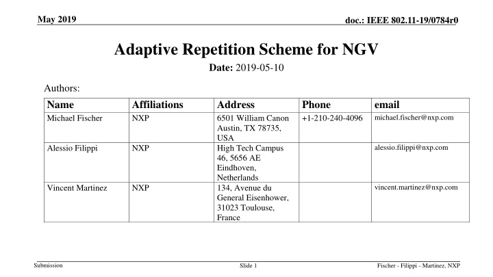 adaptive repetition scheme for ngv n.