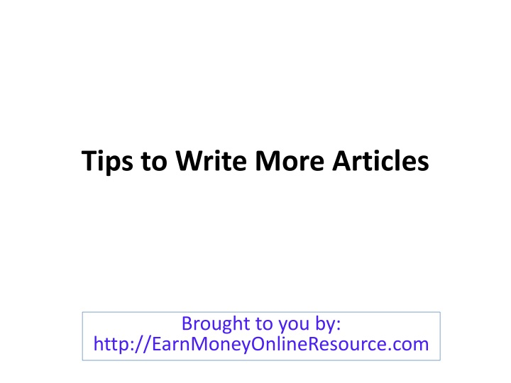 tips to write more articles n.