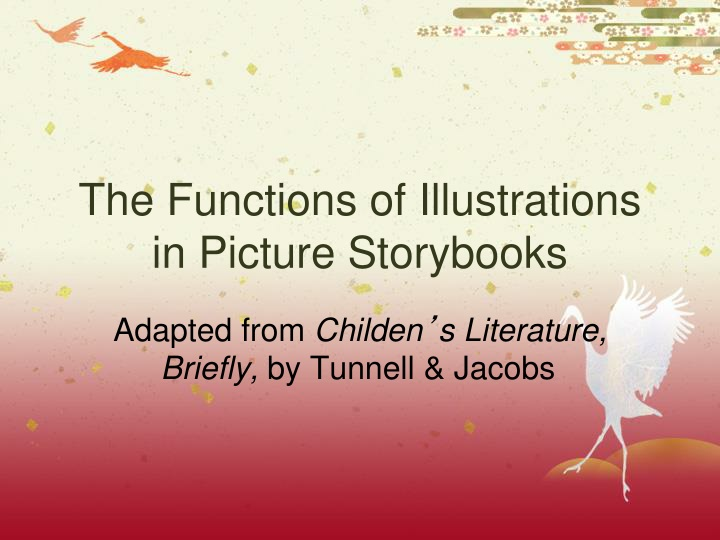 the functions of illustrations in picture storybooks n.
