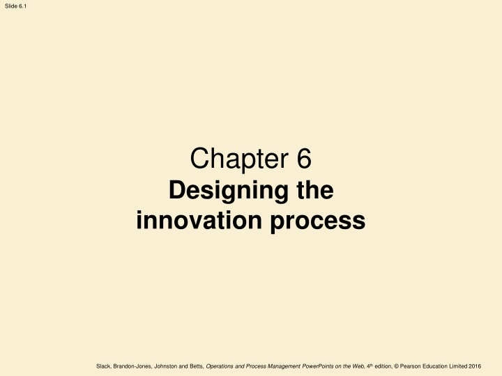 chapter 6 designing the innovation process n.