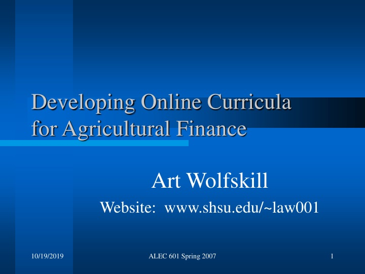developing online curricula for agricultural finance n.