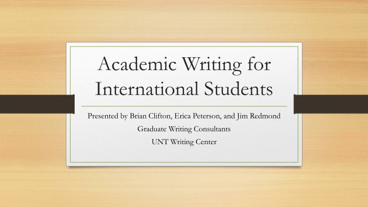academic writing for international students n.