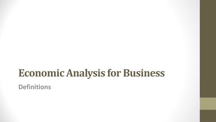 economic analysis for business n.