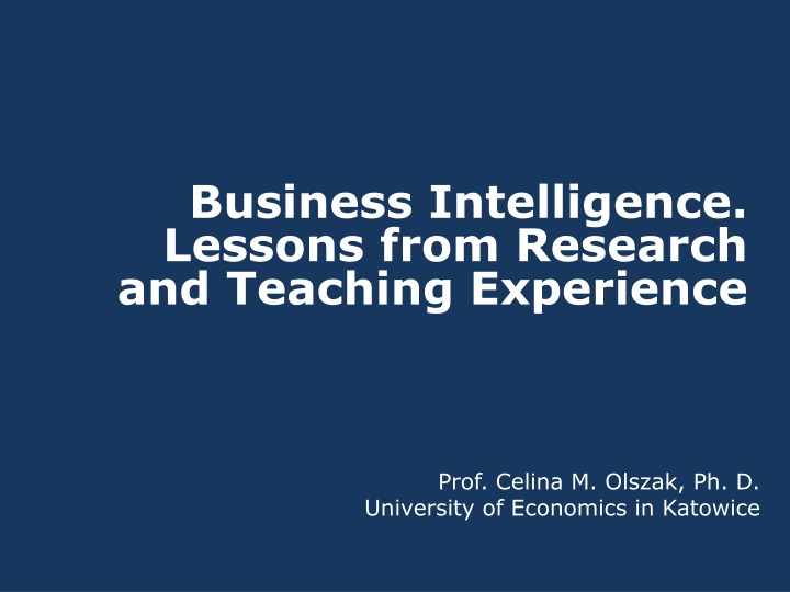 business intelligence l essons from research n.