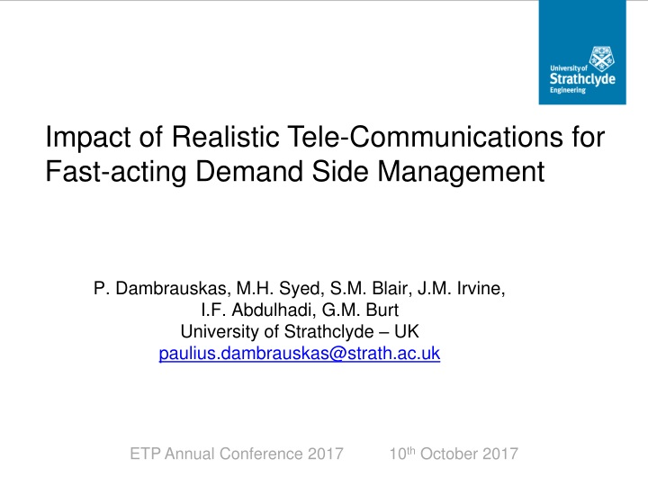 impact of realistic tele communications for fast acting demand side management n.