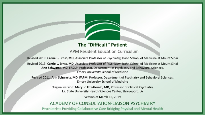 the difficult patient n.