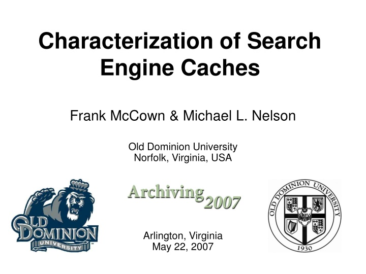 characterization of search engine caches n.