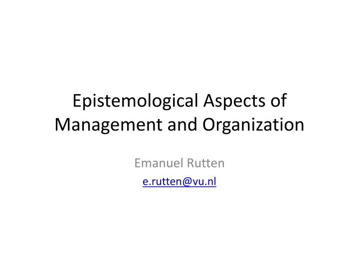 epistemological aspects of management and organization n.
