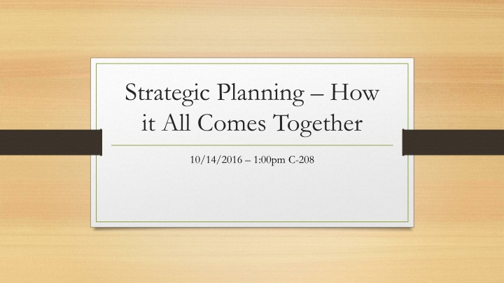 strategic planning how it all comes together n.