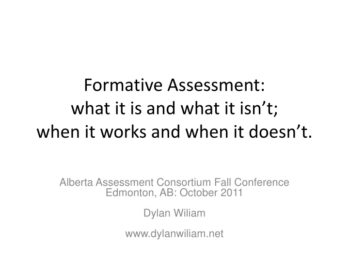 formative assessment what it is and what it isn t when it works and when it doesn t n.