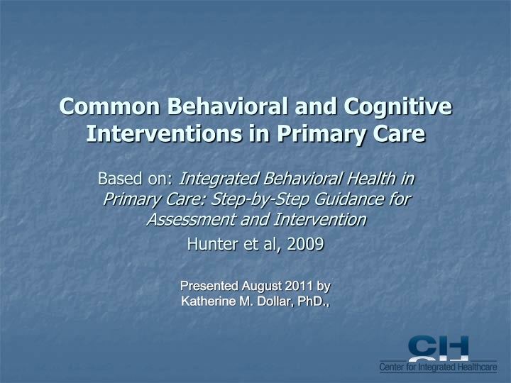 common behavioral and cognitive interventions in primary care n.