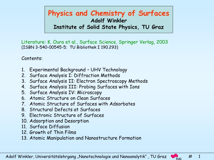 physics and chemistry of surfaces adolf winkler n.