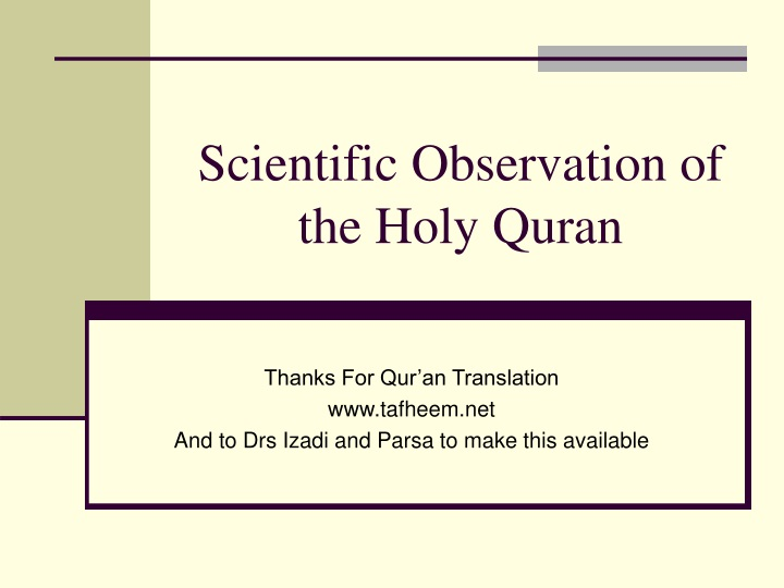 scientific observation of the holy quran n.