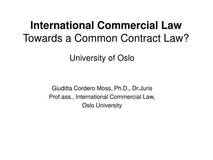 international commercial law towards a common contract law n.