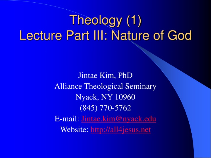 theology 1 lecture part iii nature of god n.