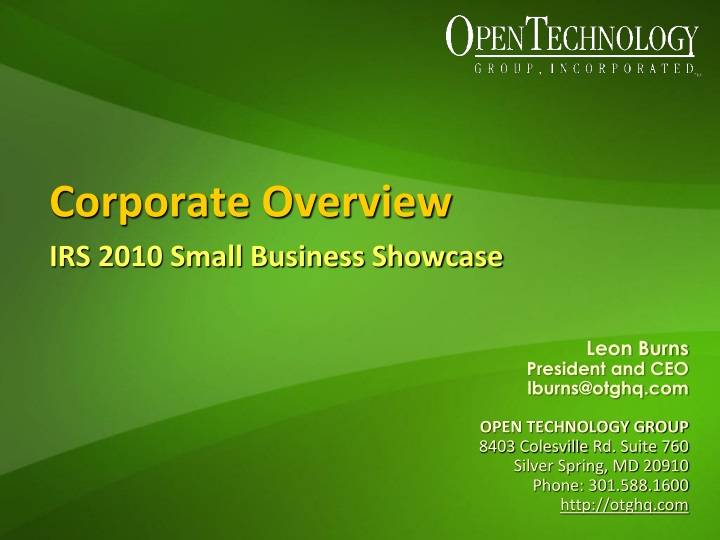 corporate overview irs 2010 small business showcase n.