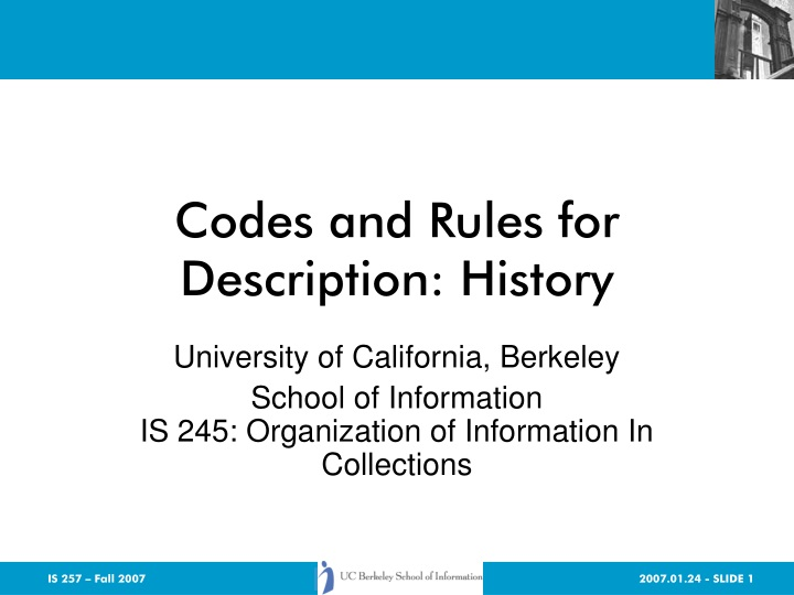 codes and rules for description history n.