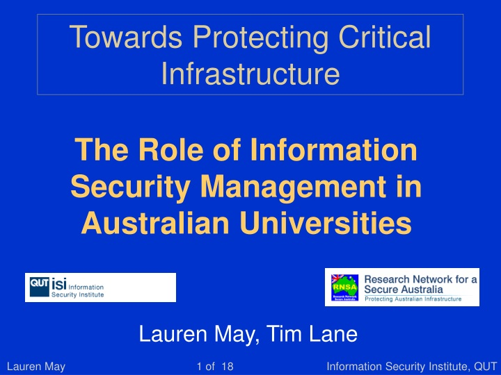 towards protecting critical infrastructure n.