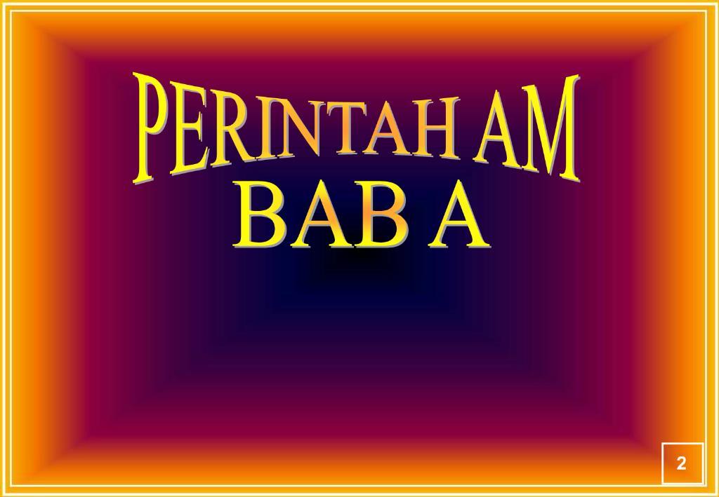 Perintah Am Bab B C E F Dan G
